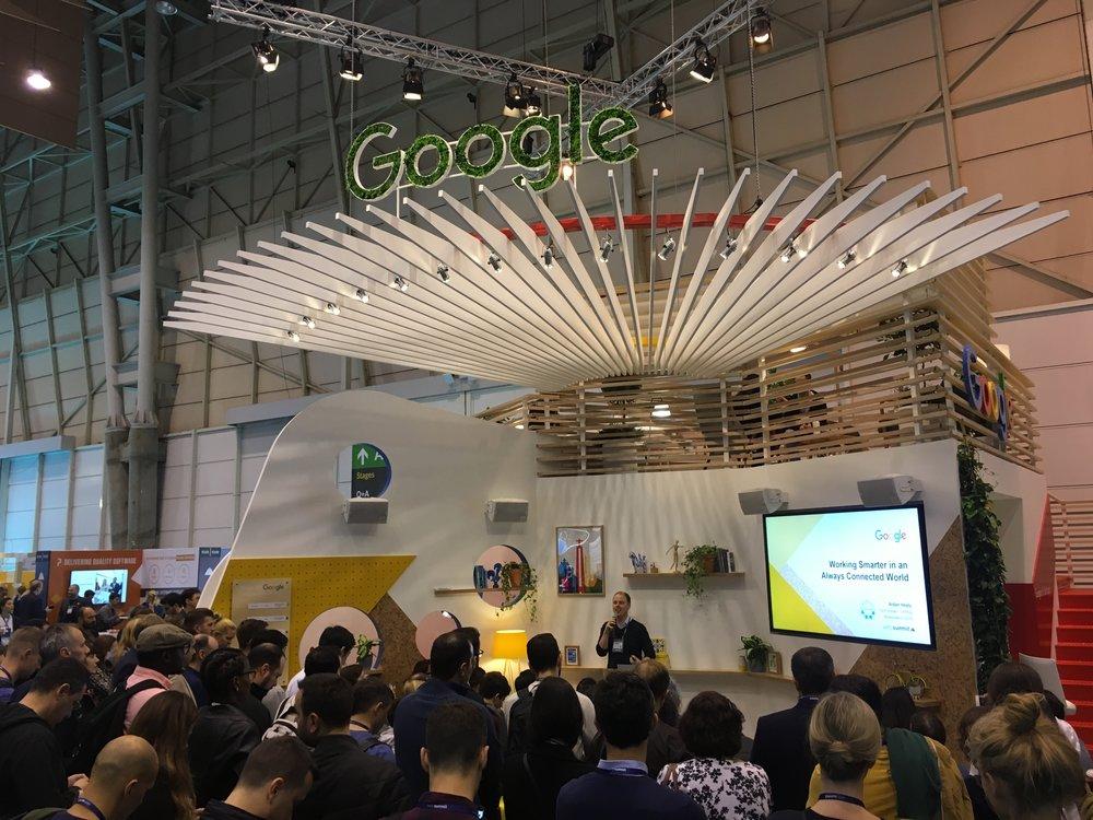 UnPlug speaking on the Google stage at Web Summit.
